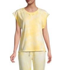 grey state women's austyn tie-dye top - tender yellow - size l