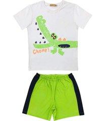 conjunto pijama de crocodilo douvelin bege - bege/verde - menino - algodã£o - dafiti