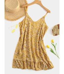estampado floral amarillo v cuello sin respaldo vestido con dobladillo con volantes
