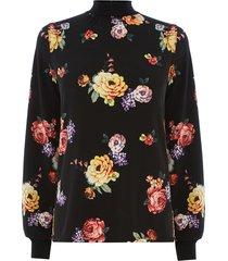 gebloemde blouse met hoge hals