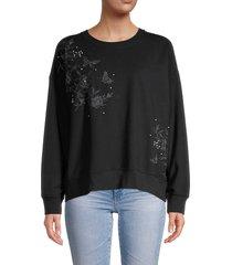 calvin klein women's floral embossed stretch-cotton sweatshirt - black - size xs