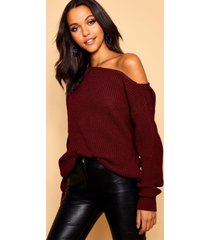 slash neck fisherman sweater, burgundy