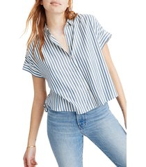 women's madewell hilltop savin stripe shirt, size x-small - blue