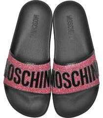 moschino designer shoes, fuchsia glitter and black patent pool sandals