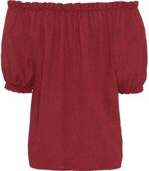 linnen carmen blouse met knopen