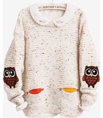maglione a maglia stampa cartoon