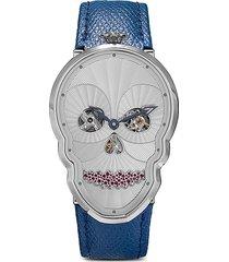 fiona kruger petit skull diamond seel watch - blue/white/silver