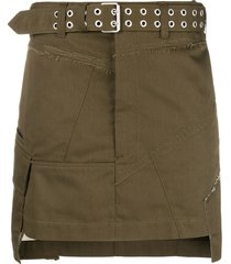 helmut lang military patch mini skirt - green