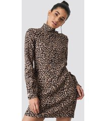 trendyol leo patterned midi dress - brown,beige,multicolor