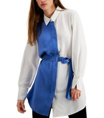 alfani belted colorblocked tunic, created for macy's