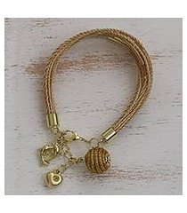gold accented golden grass charm bracelet, 'romantic dolphins' (brazil)