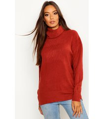 roll neck knitted oversized sweater, rust