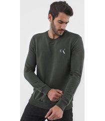 moletom fechado calvin klein underwear logo verde - kanui