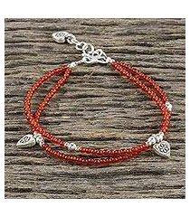 chalcedony beaded charm bracelet, 'karen tangerine' (thailand)