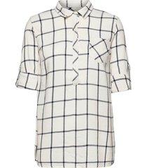 maternity plaid shirt långärmad skjorta vit gap