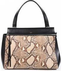 celine edge medium python snakeskin black leather hobo bag black/brown sz: l