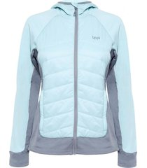 chaquetas mujer steam-pro light hoody jacket verde agua / gris medio lippi
