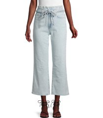 7 for all mankind women's alexa paperbag cropped jeans - light blue - size 25 (2)