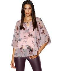 blouse en topje amy vermont roze::berry::crème