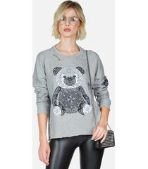 portia bandana bear - l heather grey