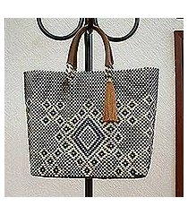 leather accent handwoven tote, 'vanilla geometry' (mexico)