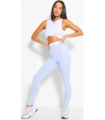 contrast waistband ribbed jersey legging, blue