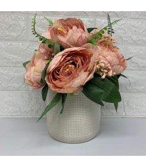 vaso decorativo com arranjo floral para centro de mesa - rosa - feminino - dafiti