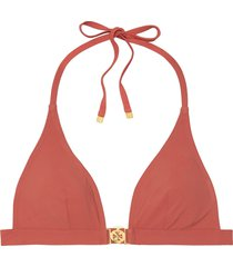 women's tory burch miller halter bikini top, size x-large - orange