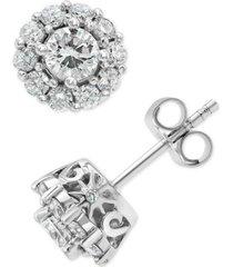 marchesa diamond halo stud earrings (1 ct. t.w.) in 18k white gold
