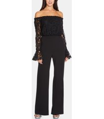 adrianna papell petite lace off-the-shoulder jumpsuit