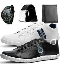 kit dhl calçados 2 pares de sapatênis casual + relógio + cinto + carteira masculino - masculino