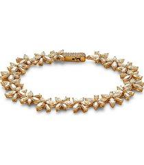 adriana orsini women's goldplated sterling silver & crystal soiree flower bracelet