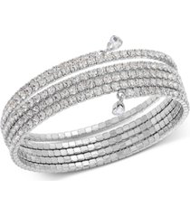 inc silver-tone crystal coil bracelet, created for macy's