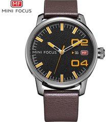 reloj para hombre/correa de piel/ mini focus 0022g /-naranja