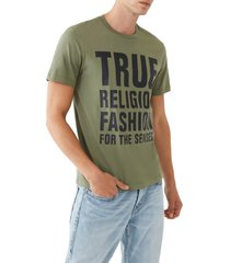 men's true religion brand jeans fashion for the senses stacked logo graphic tee, size medium - green