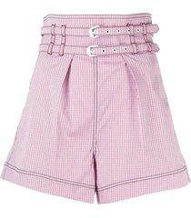 philosophy di lorenzo serafini red cotton blend striped shorts