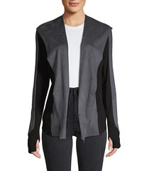 hooded drape-front jacket