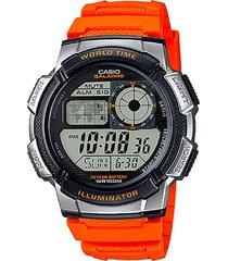 reloj digital naranja casio
