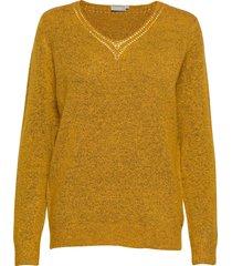 fremally 4 pullover stickad tröja gul fransa