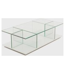 mesa de centro bauhaus 120x60x32h base espelho prata vidrotec