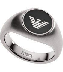 emporio armani men's stainless steel logo ring