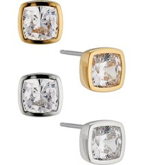 nadri coco set of 2 cubic zirconia square stud earrings in gold at nordstrom