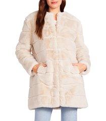 women's bb dakota fur elise faux fur coat, size large - beige