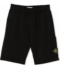 stone island black cotton track shorts
