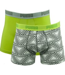 puma boxershorts 2-pak retro triangle box green glow