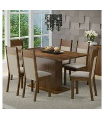 conjunto sala de jantar lousiana madesa mesa tampo de madeira com 6 cadeiras rustic/crema/pérola