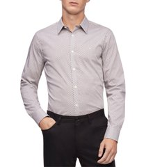 calvin klein men's geo-print stretch classic-fit shirt