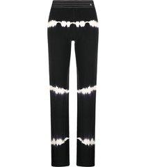 chanel pre-owned tie-dye straight-leg trousers - black