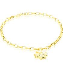 bracciale in oro giallo con charm a forma di quadrifoglio per donna