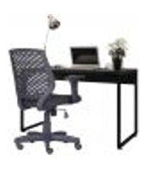 kit cadeira escritório tech crepe e mesa escrivaninha industrial soft f01 preto fosco - lyam decor